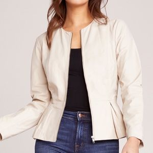 Bb dakota clary leather peplum neutral jacket